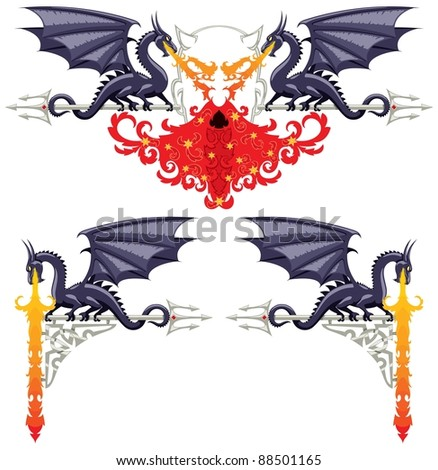 Fantasy Floral Borders: Fantasy floral ornaments with dragons, flames and a devil. No transparency and gradients used.