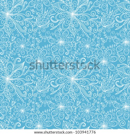 fantasy floral hand drawn vector seamless pattern in white and blue
