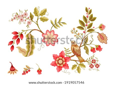 Fantasy flowers in retro, vintage, jacobean embroidery style. Embroidery imitation isolated on white background. Vector illustration. Set of elements for design, clip art. Stock photo ©