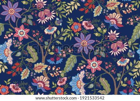 Fantasy flowers in retro, vintage, jacobean embroidery style. Seamless pattern, background. Vector illustration. On army green background. Stock photo ©