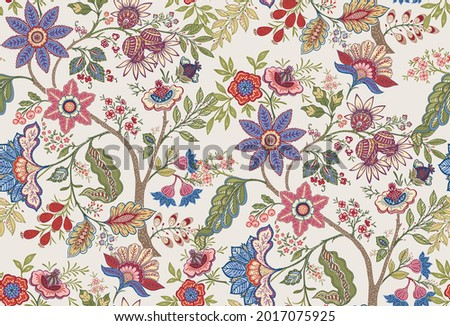 Fantasy flowers in retro, vintage, jacobean embroidery style. Seamless pattern, background. Vector illustration. On army green background.
