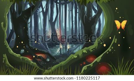 Fantasy Forest Illustration Dark Night Magic Trees