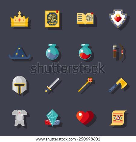 fantasy game flat icons