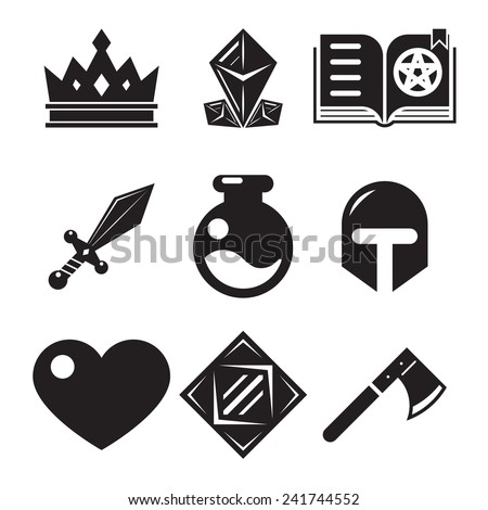 fantasy game icons flat vector