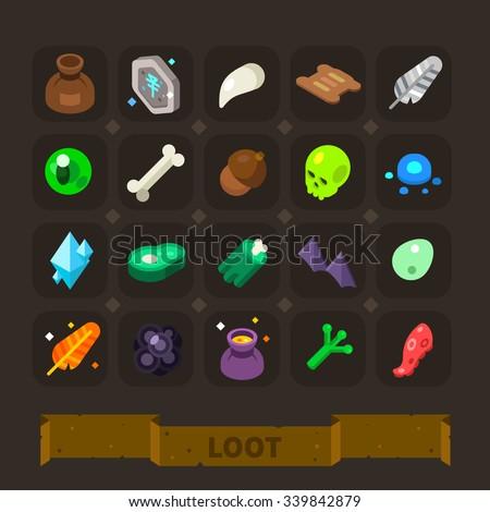 fantasy game icons set