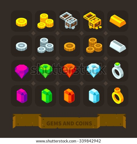 fantasy game icons set  gems