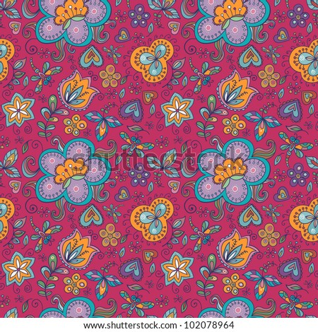 Fantasy  hand drawn flowers vector seamless pattern. Made in cheerful  pink, yellow,  blue and lilac tones