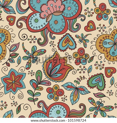 Fantasy  hand drawn flowers vector seamless pattern. Made in clear and cheerful tones