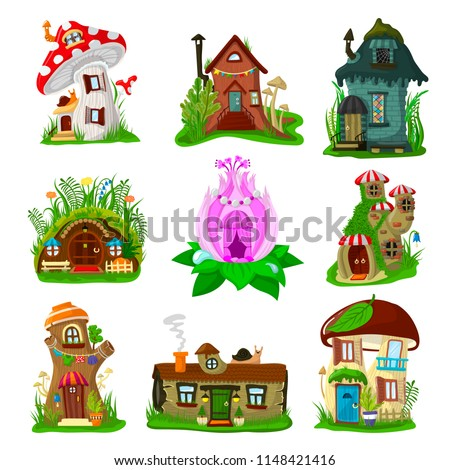 Fantasy house vector cartoon fairy treehouse and magic housing village illustration set of kids fairytale playhouse for gnome or elf isolated on white background