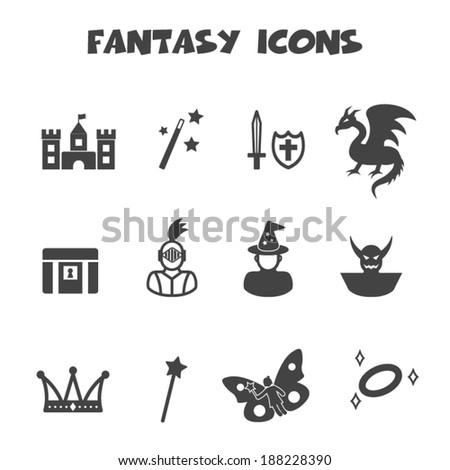 fantasy icons  mono vector