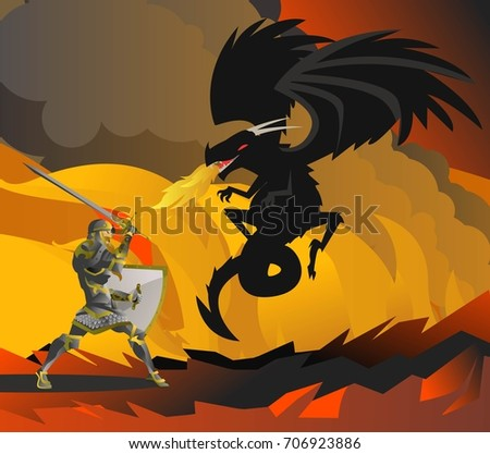 fantasy knight fighting a black