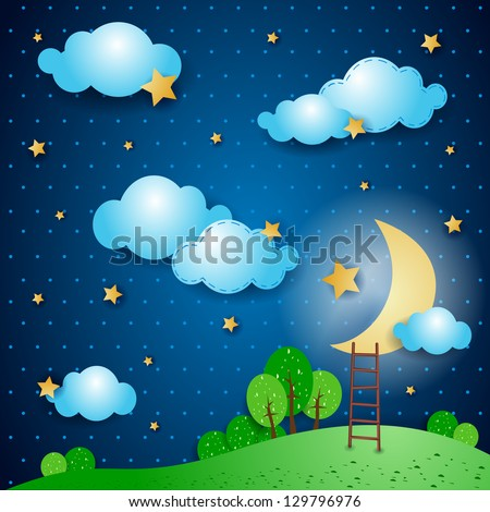 fantasy landscape at night