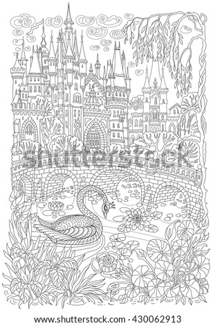 Fantasy landscape. Fairy tale castle. Fantastic water plant, lotus flower, . Stylized swan bird, lake, medieval stone bridge T-shirt print. Album cover.Coloring book page for adults.Black White doodle