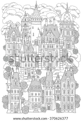 Fantasy landscape. Fairy tale castle, old medieval town, park trees. Hand drawn sketch, house and tower silhouette. T-shirt print. Album cover. Coloring book page for adults. Black and white doodle