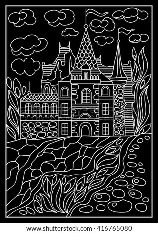 Fantasy landscape fairy tale castle old medieval town park trees fairy tale castle old medieval town park trees hand drawn stopboris