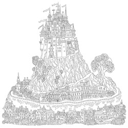 Fantasy landscape. Fairy tale medieval castle on a hill. Fantastic oak tree, old street. T-shirt print. Album cover, invitation card.Coloring book page for adults and children. Black and white doodle