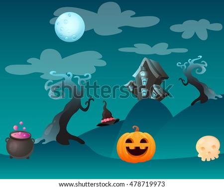 Fantasy landscape Halloween. Game design. Vector illustration
