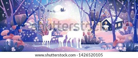Fantasy landscape of magic forest with fairy tale  Reindeers family looking at Santa Claus sleigh Reindeers flying over full moon in Christmas night,Vector illustration cartoon Winter wonderland