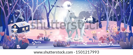 Fantasy landscape of magic forest with fairy tale Unicorn and Reindeers looking at Santa Claus sleigh Reindeers flying over full moon in Christmas night, Vector illustration cartoon Winter wonderland