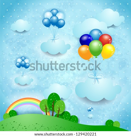 Fantasy landscape with balloons, vector