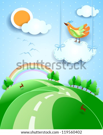 fantasy landscape with bird