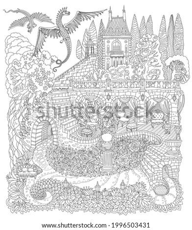 fantasy landscape with flying