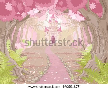 Stock Photo Fantasy landscape with magic fairy tale princess castle