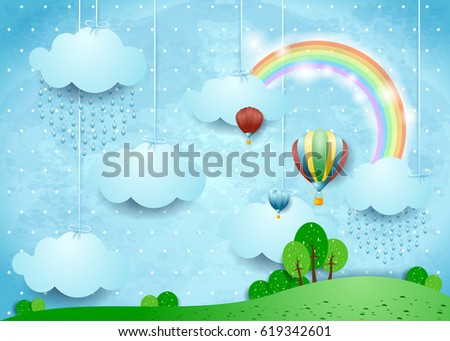 fantasy landscape with rain and