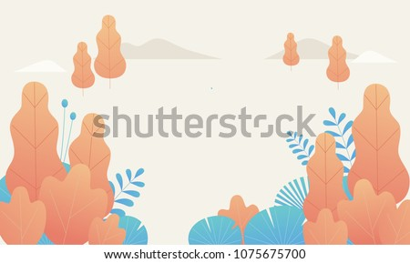 fantasy leaves background template vector illustration flat design