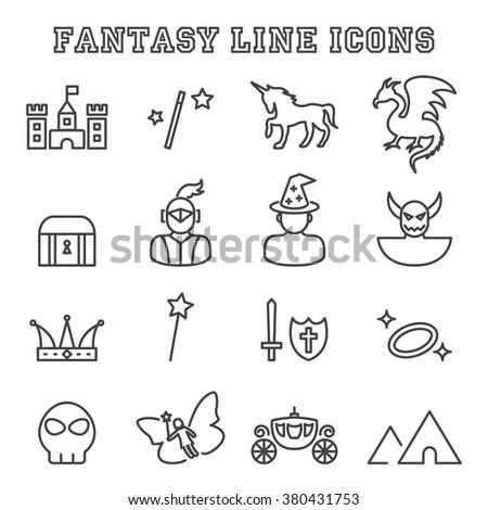 fantasy line icons  mono vector