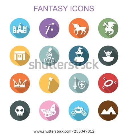 fantasy long shadow icons  flat