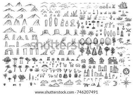 Fantasy map elements illustration, drawing, engraving, ink, line art, vector