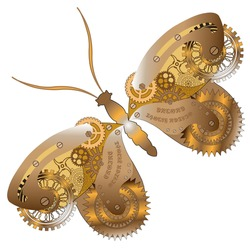 Fantasy mechanical  butterfly with gear wheels and cogs. . Collage in steampunk style. Isolated on white background.
