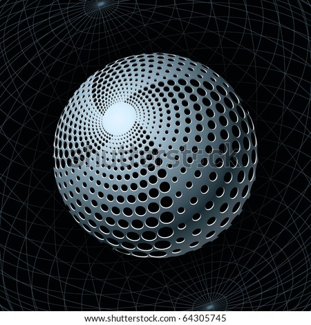 Fantasy Metal Sphere with Spiral Holes against Navigation Grids behind. Vector Illustration