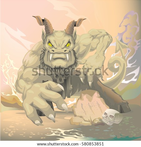 fantasy monster with horns and