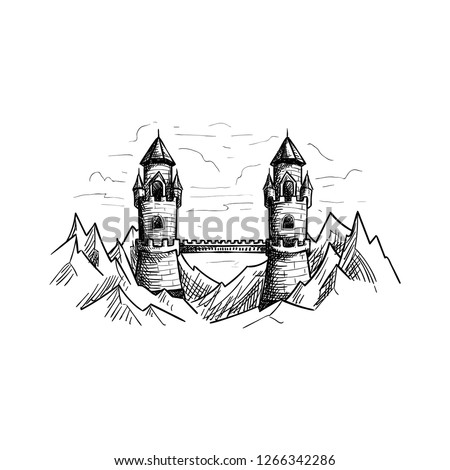 fantasy mountain bridge castle