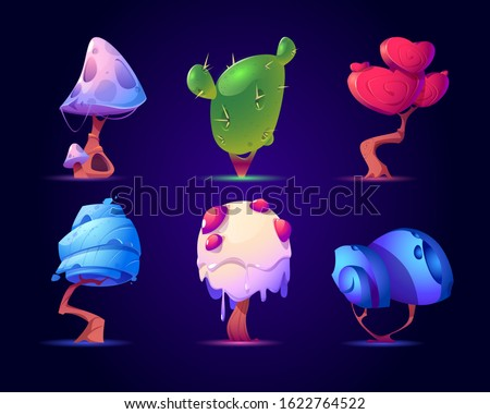 Fantasy mushrooms or alien trees set. Magic unusual nature elements for computer game, fairy tale book isolated on blue background. Beautiful strange plants Cartoon vector illustration, icon, clip art