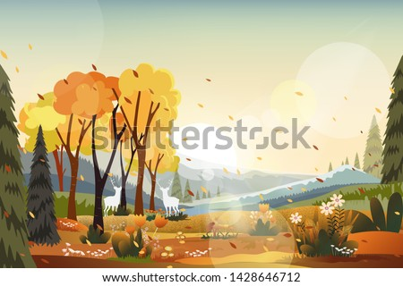 Fantasy panorama landscapes of Countryside in autumn,Panoramic of mid autumn with farm field, mountains, wild grass and leaves falling from trees in yellow foliage. Wonderland landscape in fall season