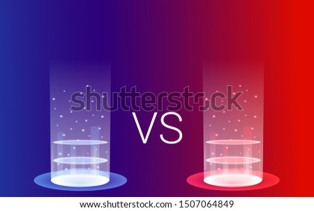 Fantasy portals duel and fight concept with futuristic vertical light teleports in blue and red colors. Vector illustration