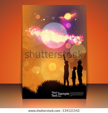 Fantasy psychedelic  world illustration with one family, vector format