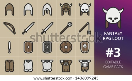 Fantasy RPG game loot icons set. Set of wooden bow, skull helmet, skull shield, dagger, mace, flail, viking horned helmet, fantasy weapons and cuirass armour. Editable RPG game items pack