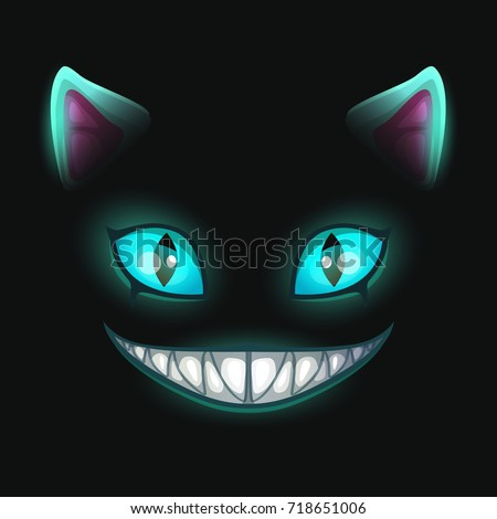 fantasy scary smiling cat face