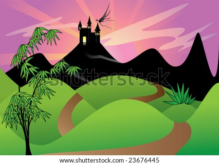 fantasy scene with castle on