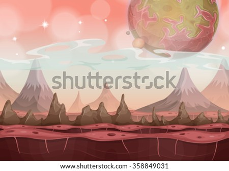 Fantasy Sci-fi Alien Landscape For Ui Game/ Illustration of a cartoon seamless funny sci-fi alien planet landscape background, with mountains range layers for parallax, stars and planets for ui game