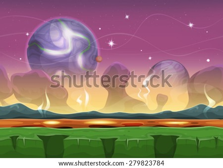 Stock Photo Fantasy Sci-fi Alien Landscape For Ui Game/ Illustration of a seamless cartoon funny sci-fi alien planet landscape background, with parallax layers, mountains range, stars and planets for ui game