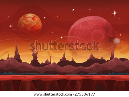Fantasy sci-fi Martian Background For UI Game. Illustration of a cartoon funny sci-fi alien planet landscape background, with layers for parallax, weird mountains range, stars and planets for UI game