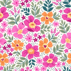 Fantasy seamless floral pattern with light pink and yellow flowers and leaves on a white background. The elegant the template for fashion prints. Modern floral background.