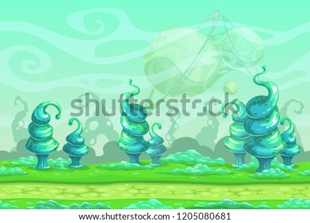 Fantasy seamless landscape with big blue strange plants. Separated layers for parallax effect in the animation. Alien world illustration. Cartoon horizontal background for games design.