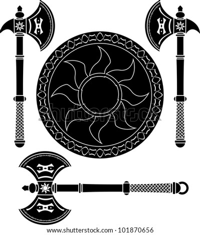 fantasy shield and swords of
