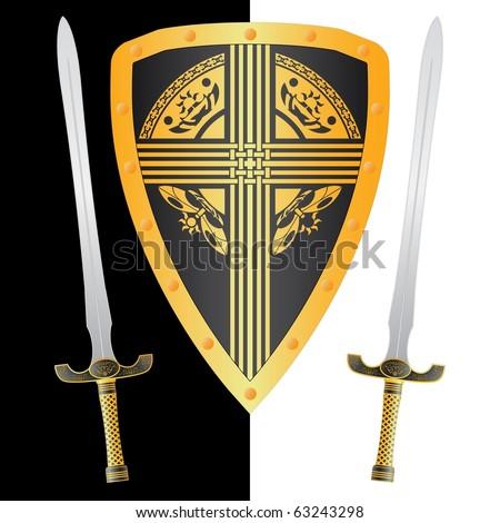 fantasy shield and swords. third variant. vector illustration